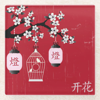 """Blossom"" and bird in a cage red Glass Coaster"