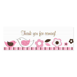 Blossom Baby Bird Baby Shower Favor Gift Tags Double-Sided Mini Business Cards (Pack Of 20)