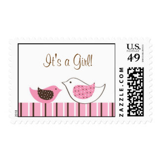 Blossom Baby Bird It's a Girl Postage Stamps