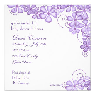 Blossom Baby Shower Invitation in Lavender