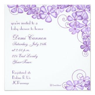 """Blossom Baby Shower Invitation in Lavender 5.25"""" Square Invitation Card"""