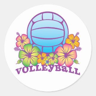 Blossom Beach Volleyball Classic Round Sticker