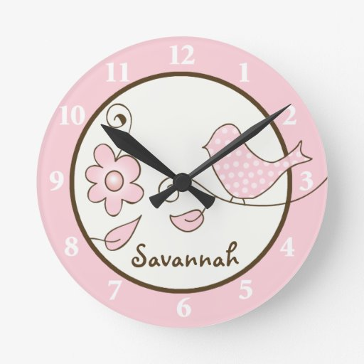 Blossom Bird (Pink) Wall Clock - Add a Name