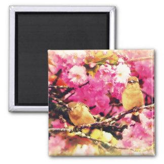 Blossom Birdies 2 Inch Square Magnet