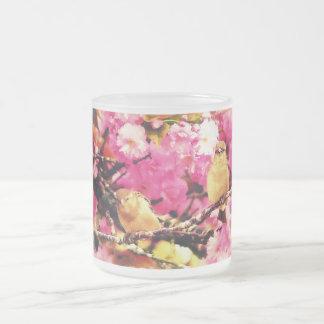 Blossom Birdies 10 Oz Frosted Glass Coffee Mug