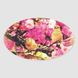 Blossom Birdies Oval Sticker