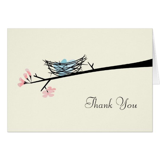 Blossom Branch and Nest Thank You Card