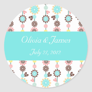 Blossom Bridal Shower Cupcake Toppers/Stickers Classic Round Sticker