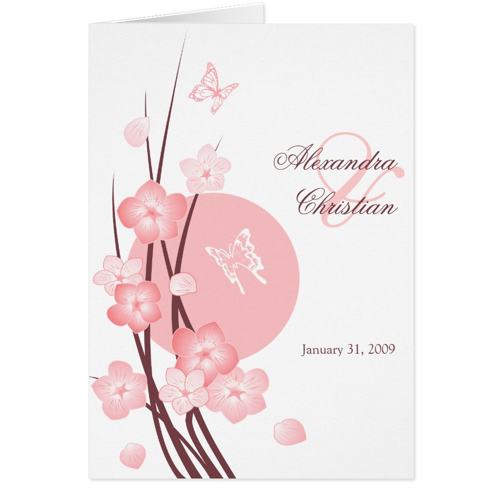 Blossom Flowers Butterflies Wedding Invitation Cards
