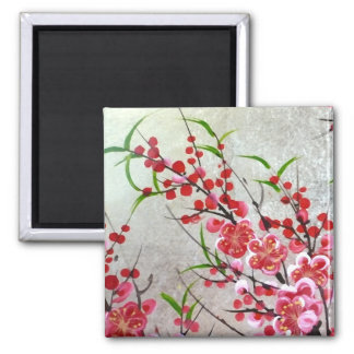 Blossom In Gold 2 Inch Square Magnet