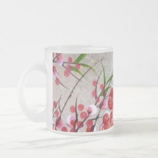 Blossom In Gold 10 Oz Frosted Glass Coffee Mug