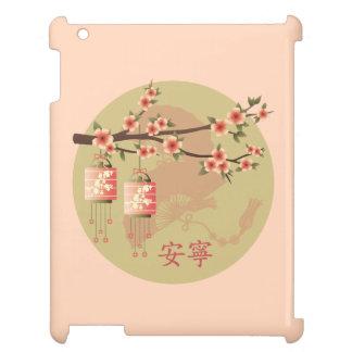 "Blossom lanterns peach green ""Peaceful"" case iPad Cover"