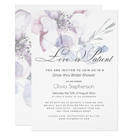 Blossom Love is Patient Drive Thru Bridal Shower Invitation