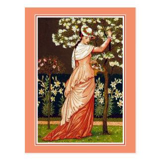 Blossom Picking Time Vintage Illustration Postcard