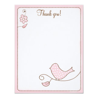 Blossom Pink Bird 4x5 Flat Thank you note Card
