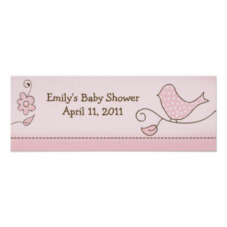 Blossom Pink Bird Customizable Birthday Banner Print