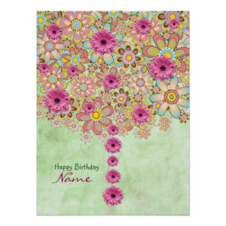 Blossom Pink Flowers Tree - birthday Poster