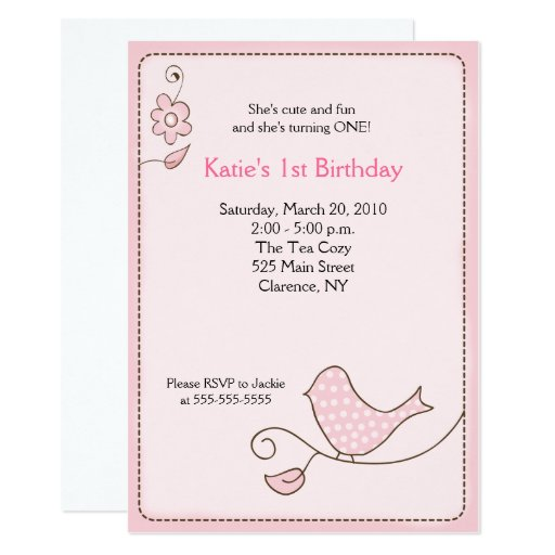 Blossom Polka Dot Pink Bird Birthday Invitation