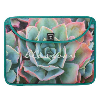 """""""Blossom"""" Quote Pink & Green Cacti Close-up Photo Sleeve For MacBook Pro"""