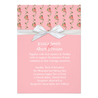 Blossom Roses Damask Wedding Invite