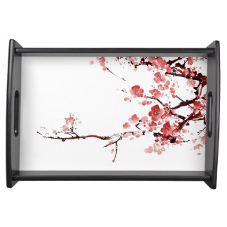 blossom serving tray - red