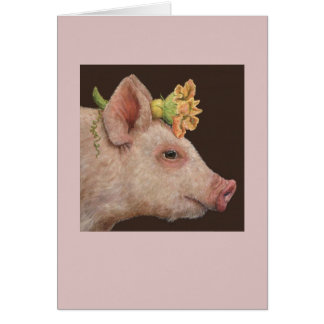 Blossom the piglet card
