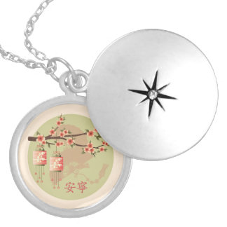 "Blossom tree labtern peach green ""Peaceful"" Round Locket Necklace"
