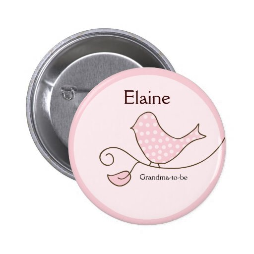 BLOSSOM Trendy Bird NAME TAG Personalized Button