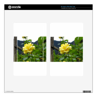Blossom yellow rose on a mountain background kindle fire skin