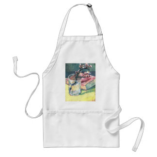 Blossoming Almond Branch in a glass and a book Adult Apron