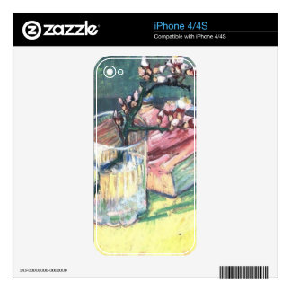 Blossoming Almond Branch in a glass and a book iPhone 4 Skins