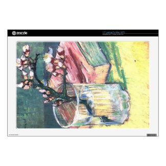 Blossoming Almond Branch in a glass and a book Laptop Decals