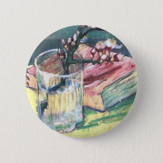 Blossoming Almond Branch in a glass and a book Pinback Button
