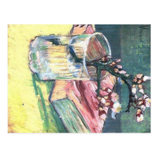 Blossoming Almond Branch in a glass and a book Postcard