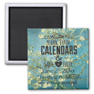 Blossoming Almond Save the Date 2 Inch Square Magnet