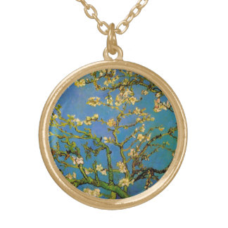 Blossoming Almond Tree by Van Gogh, Fine Art Gold Plated Necklace