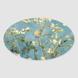 Blossoming Almond Tree by Van Gogh Oval Sticker