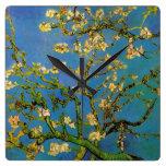 Blossoming Almond Tree by Van Gogh, Vintage Flower Square Wallclocks