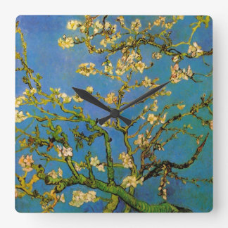Blossoming Almond Tree by Van Gogh, Vintage Flower Square Wallclock