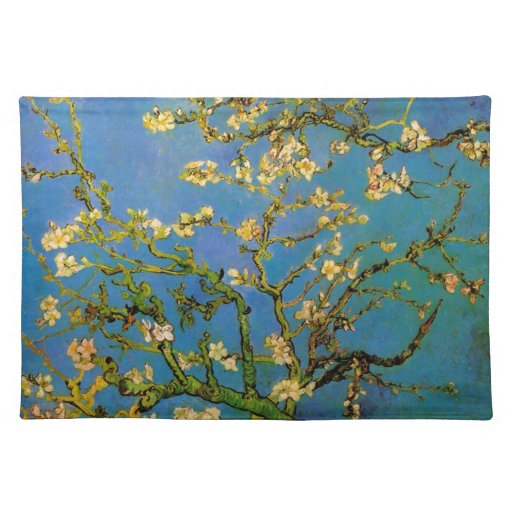 Blossoming Almond Tree by Van Gogh, Vintage Flower Placemats