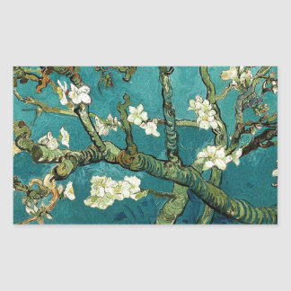 Blossoming Almond Tree Vintage Floral Van Gogh Rectangular Sticker