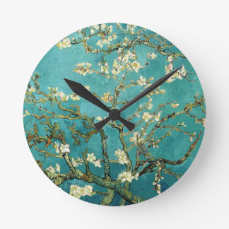 Blossoming Almond Tree Vintage Floral Van Gogh Round Clock