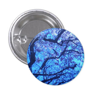 Blossoming Blue Branches Pinback Button
