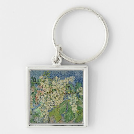 Blossoming Chestnut Branches, 1890 Silver-Colored Square Keychain
