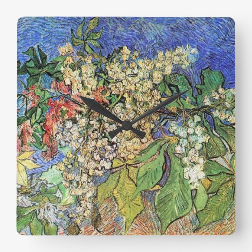 Blossoming Chestnuts Branches, Van Gogh Square Wall Clocks