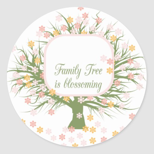 Blossoming Family Tree Classic Round Sticker