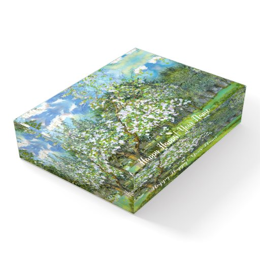 Blossoming garden paintingwatercolor paperweight
