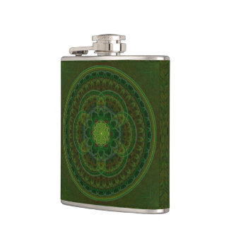 Blossoming Green Kaleidoscope Hip Flask