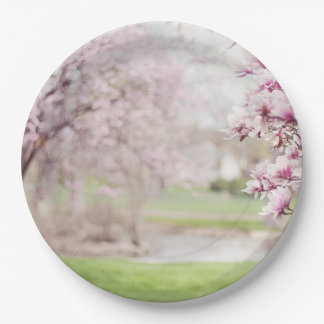 Blossoming Magnolia Trees Paper Plate