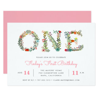 Blossoming One | First Birthday Party Invitation